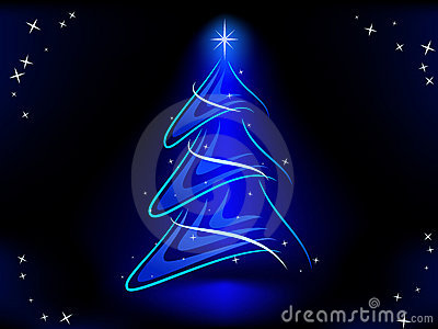 Abstract christmas tree with blue illuminate star