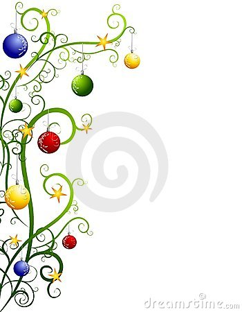 Abstract Christmas Tree Border With Ornaments