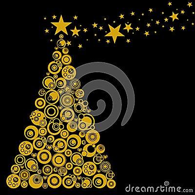 Abstract Christmas Tree Circles Stars Hearts
