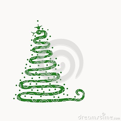 Abstract christmas tree design with snake shape,