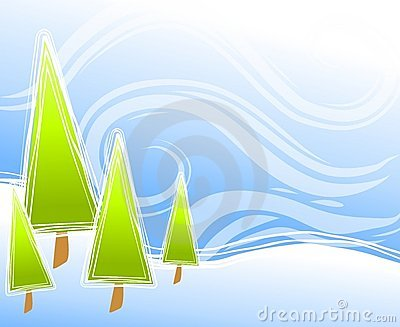 Abstract Christmas Tree Scene