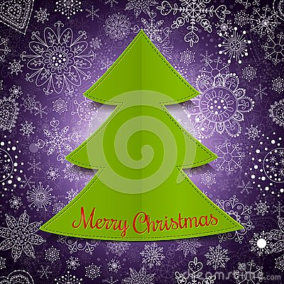 Abstract christmas tree and violet background