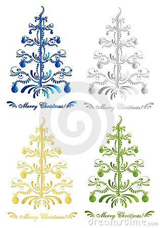 Abstract Christmas trees, cdr vector