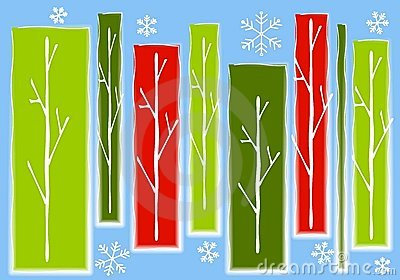 Abstract Christmas Trees Snow Background