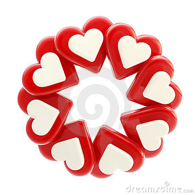 Abstract circle frame made of hearts isolated
