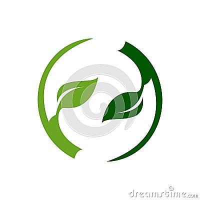Abstract circle green light dark leaf logo template Vector Illustration