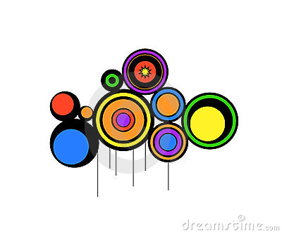 Abstract circles retro colors