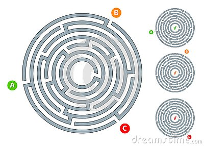 Abstract circular maze labyrinth with an entry and an exit A flat illustration on a white background A puzzle for logical thinking Vector Illustration
