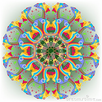 Abstract circular pattern of multicolored geometric