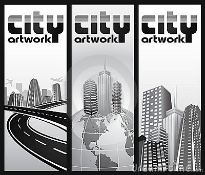 Abstract city admission ticket - set