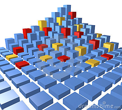 Abstract city block data cubes pyramid