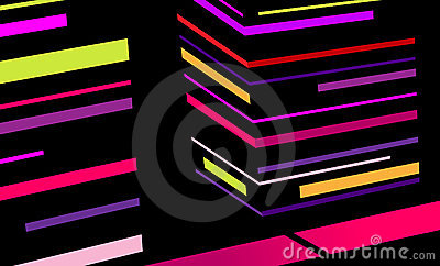 Abstract city with colored stripes.