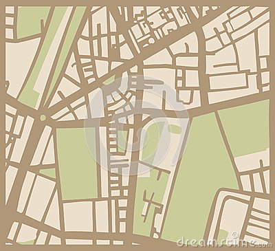 Abstract vector city map with streets, buildings a
