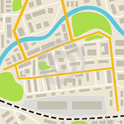 Free Abstract City Map With Roads Houses Parks And A River. Town Streets On The Plan. Top View. Royalty Free Stock Photography - 88939397