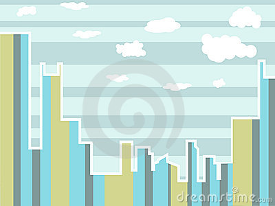 Abstract Cityscape Day Time with clouds