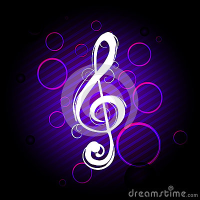 Abstract clef on colorful background