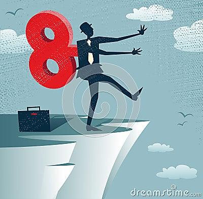 Abstract Clockwork Businessman walks off a cliff.