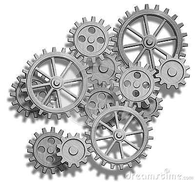 Abstract mechanical gears on white. Engineering co