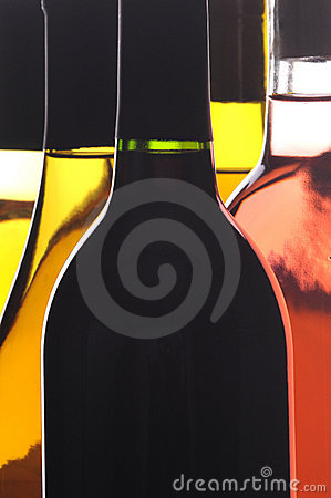 Abstract Close up of Five Wine Bottles
