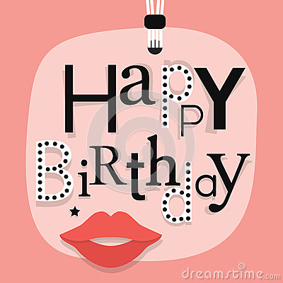 Free Abstract Close Up Of Hanging Happy Birthday Message With Woman Lips On Pink Gift Tag Royalty Free Stock Images - 83673919