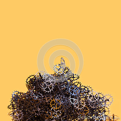 Free Abstract Cogs Gears Mountain On Yellow Background. Mechanical Industrial Still Life Conceptual Photo. Thousand Metallic Royalty Free Stock Photography - 89535647