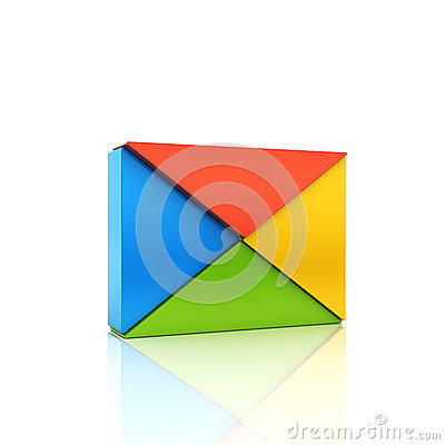 Abstract color metallic symbol with envelope from triangles