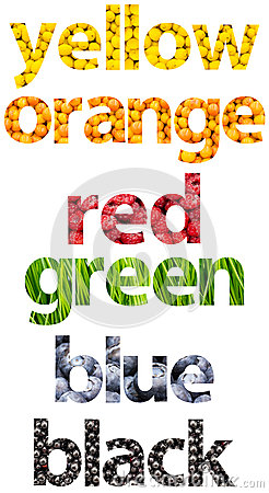 Abstract Color Names Words Made Of Fruits