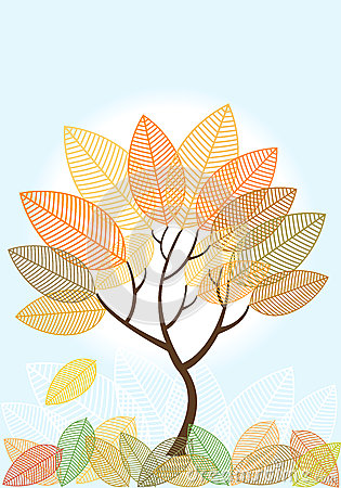 Abstract Colored Autumn Tree