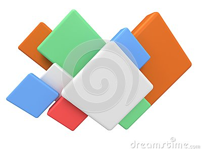 Abstract colored square 3d background.