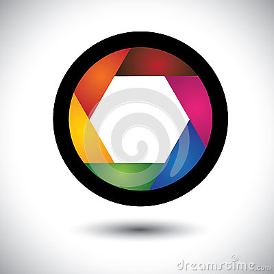 Abstract colorful camera shutter ( aperture ) with blades