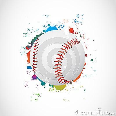 Abstract Colorful Grunge Baseball Ball