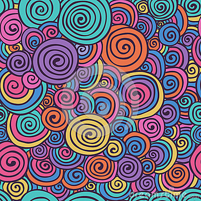 Free Abstract Colorful Hand Sketched Swirls Seamless Background Pattern Stock Photos - 63554823