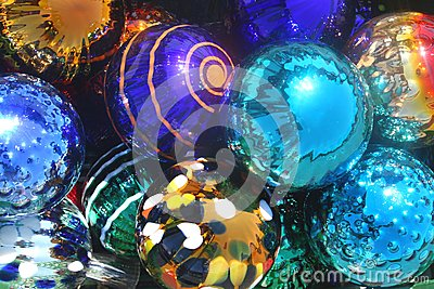 Colorful deluxe glassblown baubles for Christmas and other celebrations