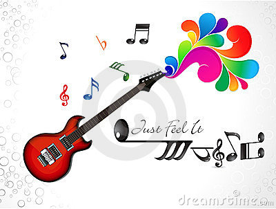 Abstract colorful musical guitar background