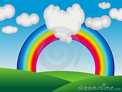 Abstract colorful rainbow with love cloud