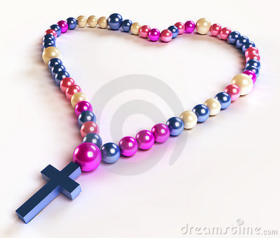 Abstract colorful rosary beads on white