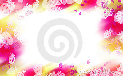 Abstract colorful strawberry border