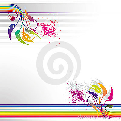 Abstract colorful striped floral background