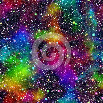 Abstract colorful universe, Nebula night starry sky, Multicolor outer space, Galactic texture background, Seamless illustration Cartoon Illustration