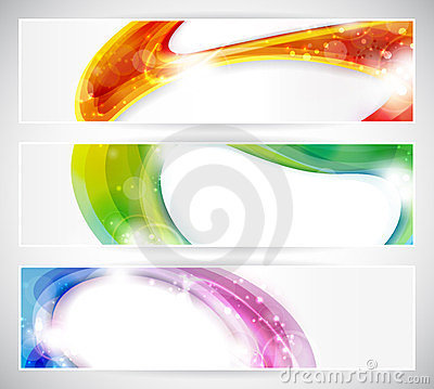 Free Abstract Colorful Vecter Header Set Stock Photography - 23489042