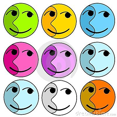 Abstract Colourful Happy Faces