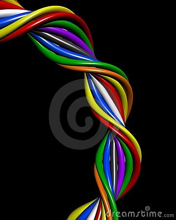 Abstract colourful wire connection concept