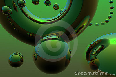 Abstract composition with flying spheres