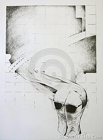 Abstract concept - houten hoofdvorm met glazen