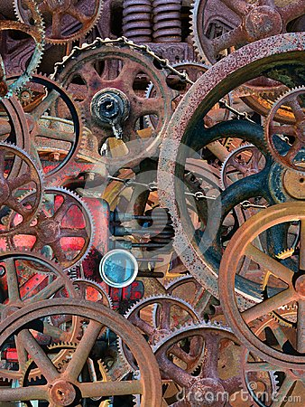 Steampunk Industrial Mechanical Wallpaper Background Stock Photo