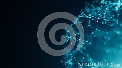 Abstract connection dots. Technology background. Digital drawing blue theme. Network concept Stock Photo