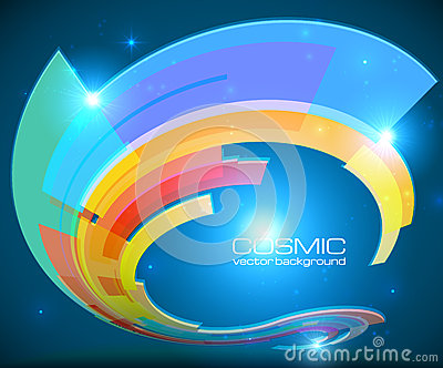 Abstract cosmic shining colorful vector circle