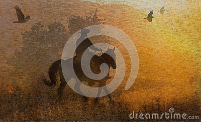 An abstract cowboy riding in a meadow with trees, crows flying above and a textured watercolor yellow background.