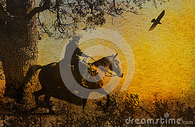 An abstract cowboy riding in the mountains with trees, crows flying above and a textured watercolor yellow background.