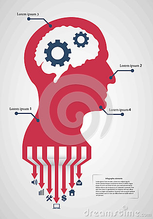 Free Abstract Creative Concept Vector Head Siluet With Gears. For Web And Mobile Application  On Background Stock Photography - 66888052
